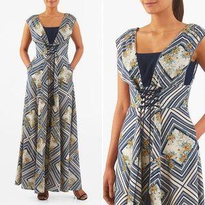 EShakti Graphic Floral Print Lace Up Maxi Dress